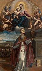 Aparição da Virgem com o Menino a santo Ubaldo, bispo de Gubbio, que indica ao fundo a cidade de Pesaro