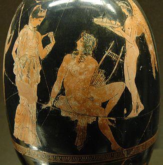 Η Αφροδίτη και ο Άδωνις. Αττική ερυθρόμορφη λήκυθος σε σχήμα αρυβάλλου από τον καλλιτέχνη Αίσονα, περ. 410 π.Χ., Μουσείο του Λούβρου.