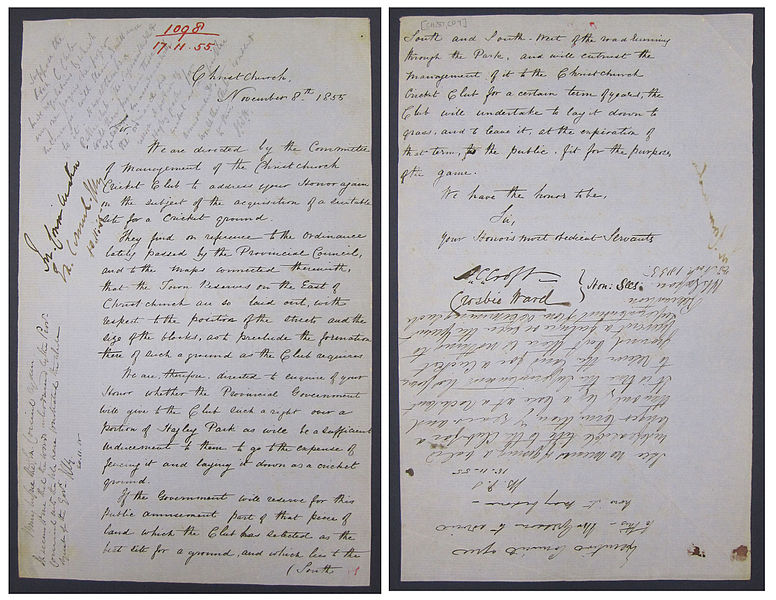 File:Application for Cricket Pitch at Hagley Park, Christchurch, 1855 (16311464589).jpg