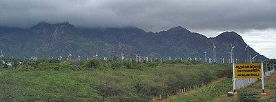 View of wind farm near Muppandal, Tamilnadu in India