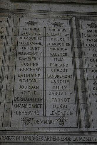 Louis-René Levassor de Latouche Tréville - LATOUCHE inscribed on the Arc de Triomphe (left column, 10th from top).