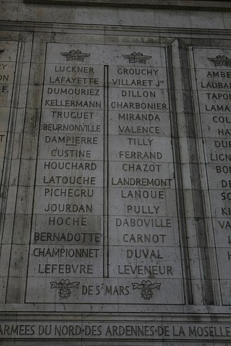 Louis Thomas Villaret de Joyeuse - Villaret de Joyeuse's name inscribed on the Arc de Triomphe
