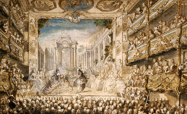 A performance of Lully's opera Armide in the Salle du Palais-Royal in 1761 Armide Lully by Saint-Aubin.jpg