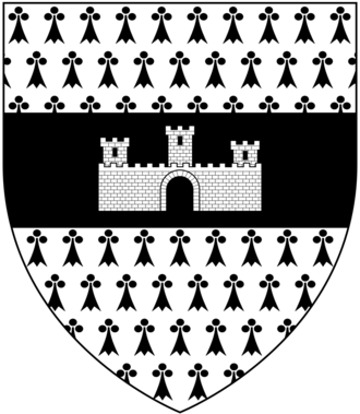 Viscount Hill - Arms of Hill: Ermine, on a fesse sable a castle triple towered argent
