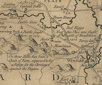 Murdoch Stewart, Duke of Albany - A detail from Armstrong's Map of Northumberland (1769) showing Humbleton (Homildon) Hill