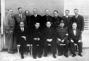 Arrow Cross Party - Ministers of the Arrow Cross Party government. Ferenc Szálasi is in the middle of the front row.