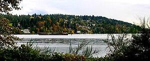 Kenmore, Washington - Arrowhead, Kenmore, from across Lake Washington in Log Boom Park