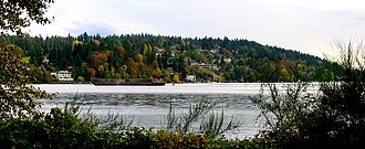 Kenmore, Washington - Arrowhead, Kenmore, from across Lake Washington in Log Boom Park