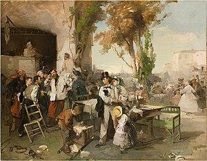 Domenico Induno - Arrival of the Bulletin Announcing the Armistice of Villafranca.