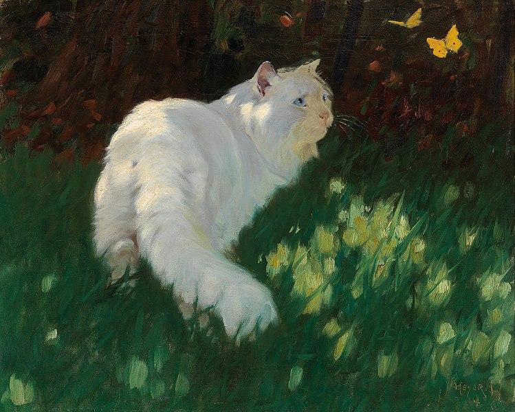 File:Arthur Heyer - White Cat and Butterflies.jpg