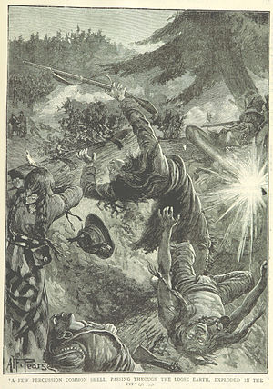 Battle of Frenchman's Butte - Canadian artillery fires on the Cree (illustration from a British book)