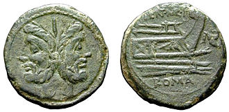 Roman navy - Roman ''as'' coin of the second half of the 3rd century BC, featuring the prow of a galley, most likely a quinquereme. Several similar issues are known, illustrating the importance of naval power during that period of Rome's history.