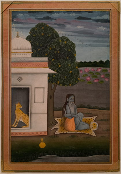 File:Ascetic Seated on Leopard's Skin, Provincial Mughal school, India, Opaque watercolor on paper, Late 18th century.tiff