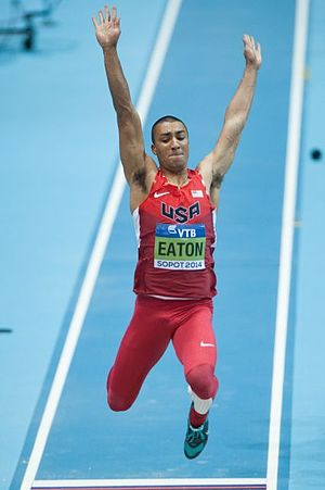 2014 IAAF World Indoor Championships – Men's heptathlon - Ashton Eaton competing in the long jump.