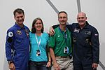 Astros Paolo Nespoli and André Kuipers with two tweetup organisers (7991257461).jpg