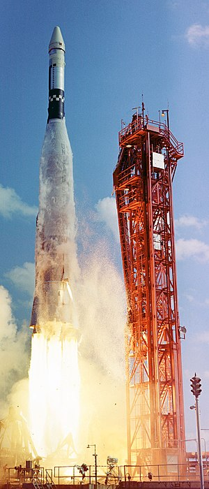Gemini 6A - The Atlas-Agena launches the Agena Target Vehicle for the intended Gemini 6 rendezvous mission, attempted October 25, 1965 but fails.