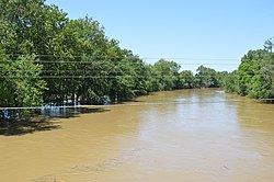 The Auglaize River south of Dupont, flooded by heavy rains