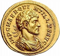 Golden coin depicting man with diadem facing right