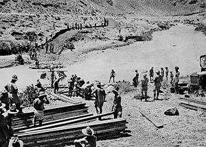 Battle of the Litani River - Image: Australian forces cross the Litani River, 1941