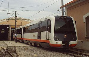 Alicante Tram - New MAN 2500 series diesel train at depot near La Marina station
