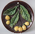 Avelena Soares Wall plate, 10.4 ins., coloured glazes, ultra-naturalistic Palissy style, Portugal.jpg