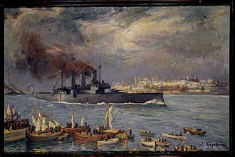 Hagia Sophia during the Allied occupation of Constantinople: the RHS Georgios Averof enters the Golden Horn in 1919 (Lycourgos Kogevinas [el], National Historical Museum, Athens) Averof painting 1919 Bosporus.jpg