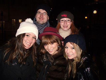 Hamasaki (bottom center) in London with a group of European fans