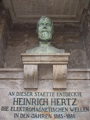 Heinrich Hertz - Memorial of Heinrich Hertz on the campus of the Karlsruhe Institute of Technology, which translates as At this site, Heinrich Hertz discovered electromagnetic waves in the years 1885–1889.