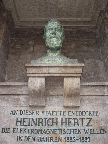 Memorial of Heinrich Hertz on the campus of the Karlsruhe Institute of Technology, which translates as At this site, Heinrich Hertz discovered electromagnetic waves in the years 1885-1889. Buste von Heinrich Hertz in Karlsruhe.jpg