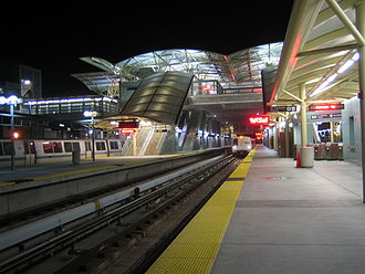 Millbrae station - The BART side of the station at night.