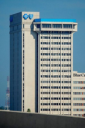 English: Blue Cross-Blue Shield Building in Ja...