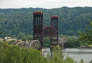 Burlington Northern Railroad Bridge 5.1 - The lift span partially raised