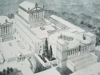 Baalbek - A proposed reconstruction of the temple complex at Baalbek under the Romans