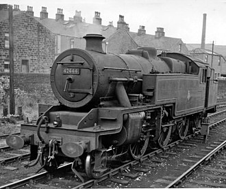 LMS 2-Cylindered Stanier 2-6-4T - 42444 at Bacup station, June 1959