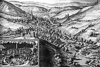 Bad Schwalbach - Bad Schwalbach – Extract from Topographia Hassiae by Matthäus Merian the Younger, 1655