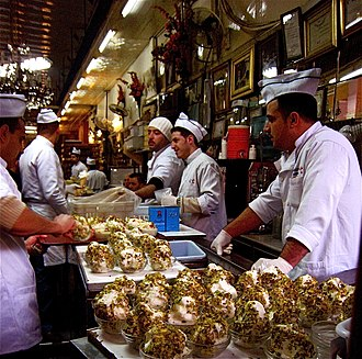 Booza being sold in the Bakdash ice cream shop in the Damascus market Bakdash ice-cream shop in the old souk in Damascus.jpg