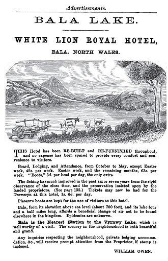 Bala Lake - 1893 advertisement for the White Lion Royal Hotel on Bala Lake, Wales