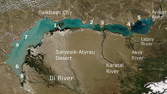 Lake Balkhash with the Lepsy River
