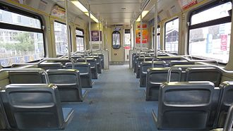 Baltimore Light RailLink - Interior of a Baltimore Light Rail vehicle