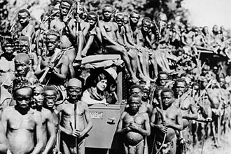 Mbuti people - A group of Mbuti, with explorer Osa Johnson, in 1930