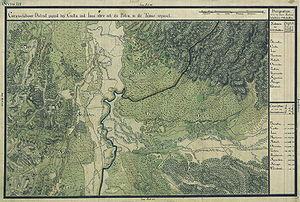 Caransebeș - Jupa village on the cadastral maps of Banat region, Josephinische Landesaufnahme, 1769-72