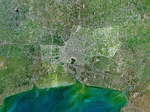 Bangkok - The Bangkok city proper is highlighted in this satellite image of the lower Chao Phraya delta. Notice the built-up urban area along the Chao Phraya River, which extends northward and southward into Nonthaburi and Samut Prakan Provinces.