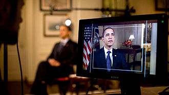 First 100 days of Barack Obama's presidency - Barack Obama preparing for his weekly address