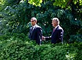 Barack Obama and Joe Biden walk to the Rose Garden 2009-05-12.jpg