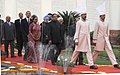 Barack Obama at a ceremonial procession with the Vice President, Shri Mohd. Hamid Ansari, the Speaker, Lok Sabha, Smt. Meira Kumar and the Prime Minister, Dr. Manmohan Singh, to address the joint session of Parliament.jpg