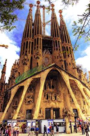 "Sanctus - The towers of the huge Sagrada Família church in Barcelona, Spain are decorated with the words ""Sanctus"", ""Hosanna"" and ""Excelsis""."