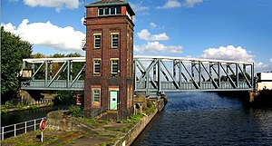 City of Salford - The Barton Swing Aqueduct in the closed position.