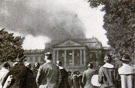 Bascom Hall fire that destroyed the dome in 1916 Bascom Hall Fire 1917.JPG