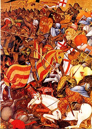 Catalans - Battle of the Puig by Andreu Marçal de Sax depicting the Christian victory with the aid of Saint George.