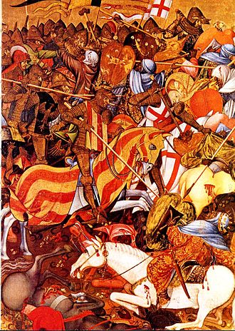 The Battle of the Puig at El Puig de Santa Maria in 1237 Batalla del Puig por Marzal de Sas (1410-20).jpg